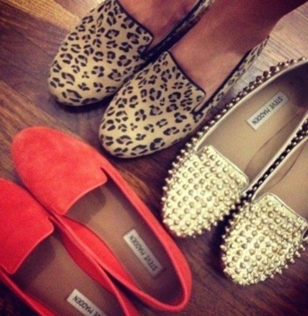 shoes steve madden studded leopard print coral red shoes animal print.