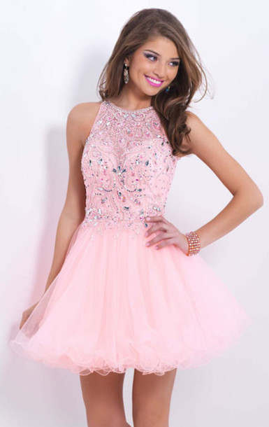 Dress: homecoming dress, beaded dress, a-line dress 2014, pink ...