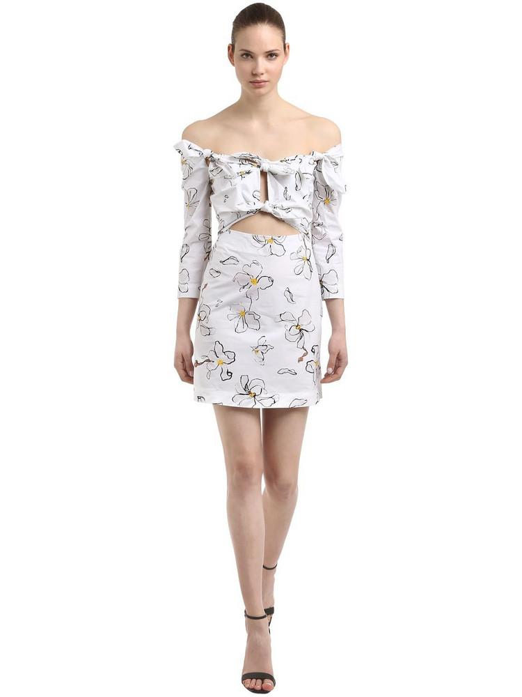 ISA ARFEN Floral Printed Cotton Mini Dress in white