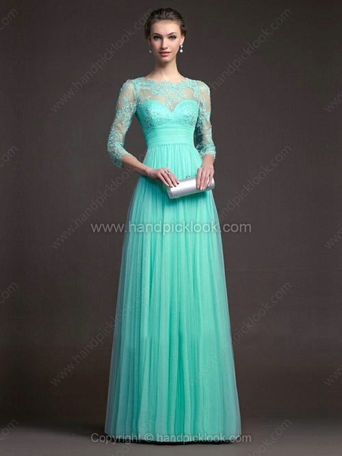 A-line Scalloped Chiffon Floor-length Lace Evening Dresses - HandpickLook.com