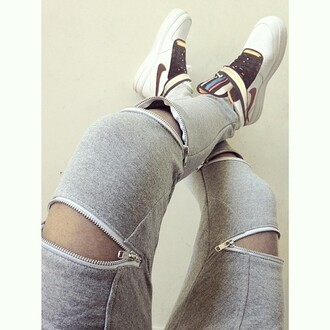 shoes leggings pants grey zip-up zipped pants