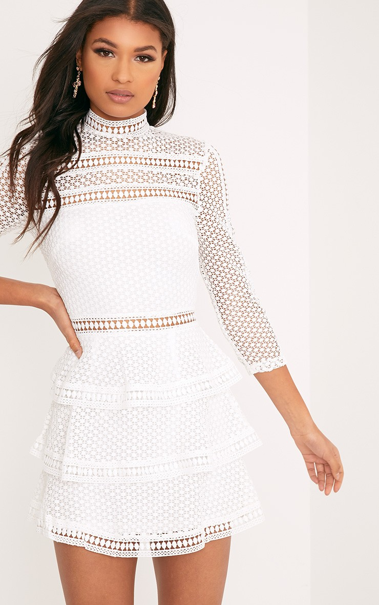 Caya White Lace Panel Tiered Mini Dress