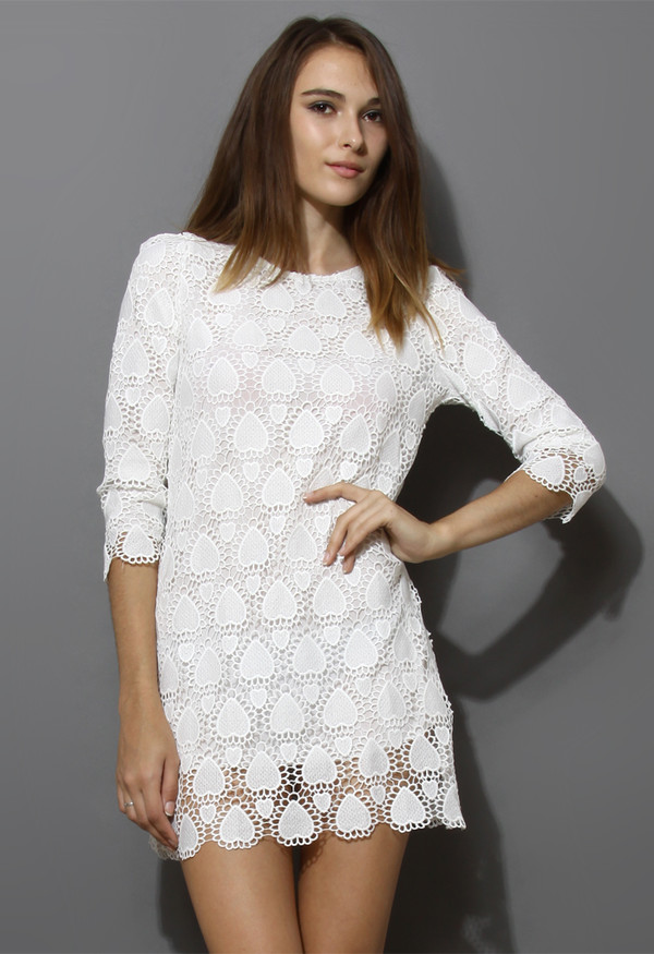 dress crochet heart white