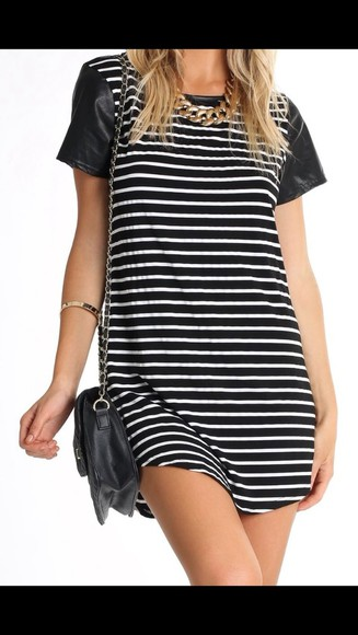 jersey dress jewels top stripe bag