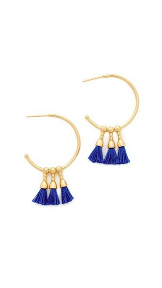 earrings hoop earrings gold blue royal blue jewels