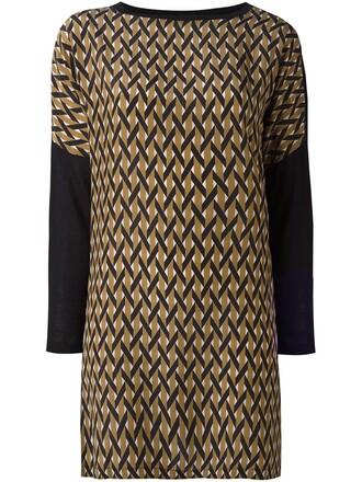 dress women geometric black silk pattern