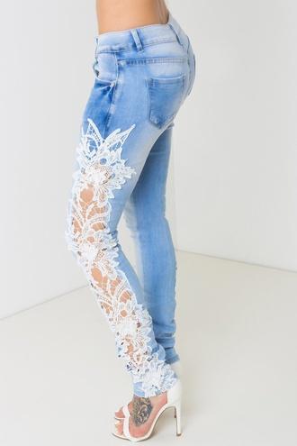 jeans lace jeans light blue jeans white lace