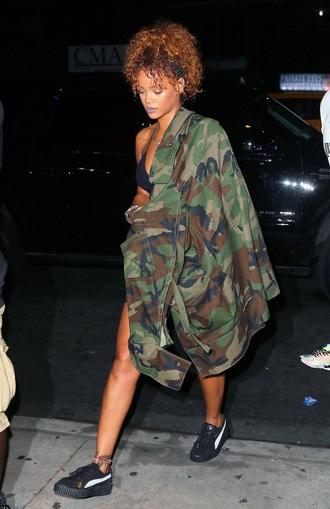 jacket army green jacket oversized rihanna