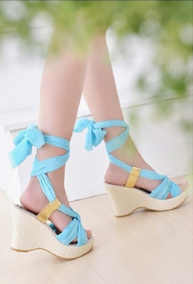 shoes string tie sandals wedges baby blue heel