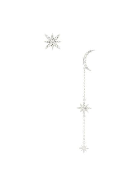 FEDERICA TOSI long metal women moon earrings silver grey metallic jewels