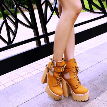 Free Shipping Abner Platform Boot metal buckle high heeled platform shoes cutout punk women's shoes-inBoots from Shoes on Aliexpress.com