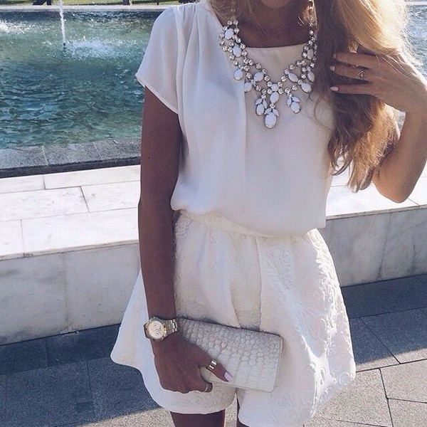 romper clothes white white romper jewels necklace girly girl jumpsuit shorts top blouse white shirr white skirt white necklace  dress jewerly top skirt style summer summer outfits jewerly necklace outfit