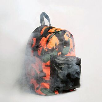 bag backpack printed bag printed backpack camouflage camouflage backpack smoke fusion streetwear streetstyle dope swag