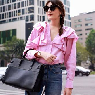 shirt tumblr pink shirt ruffle ruffle shirt denim jeans blue jeans bag black bag sunglasses earrings accessories jewels