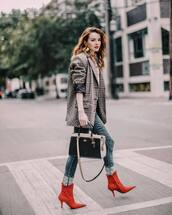 bag,coach,shoulder bag,ankle boots,high heels boots,jeans,checkered,jacket,earrings