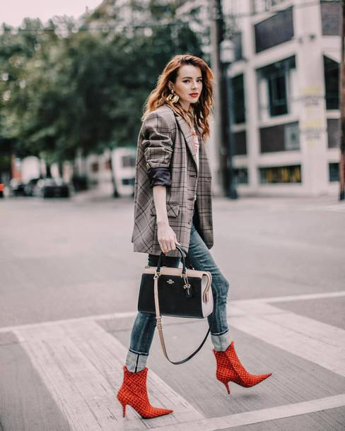 bag coach shoulder bag ankle boots high heels boots jeans checkered jacket earrings