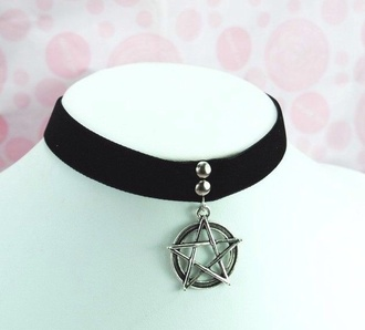 jewels goth metal collar choker necklace necklace velvet stussy pentagram pentagram chocker pentagram necklace alternative accessories