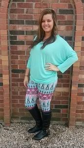 pants,leggings,aztec,aztec leggings,tribal pattern,tribal leggings,pastel,spring outfits,summer outfits