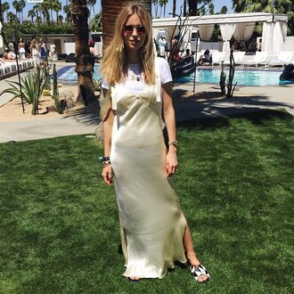 popsugar fashion blogger dress dress over t-shirt slip dress nude dress satin dress t-shirt white t-shirt slide shoes sunglasses round sunglasses slit dress side slit maxi dress