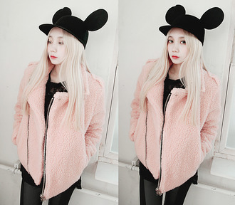 kfashion sweater jacket hat pink black asian fashion