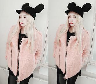kfashion sweater jacket hat pink black asian fashion