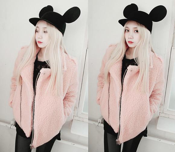 hat sweater black jacket kfashion pink asian fashion