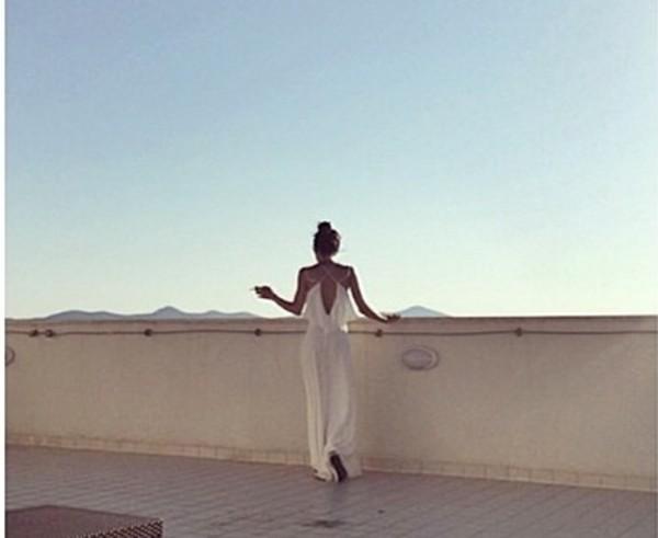 white dress white jumpsuit white jump suit cross earring dress allstars alli simpson beautiful summer dress summer outfits summer jumpsuit stripes