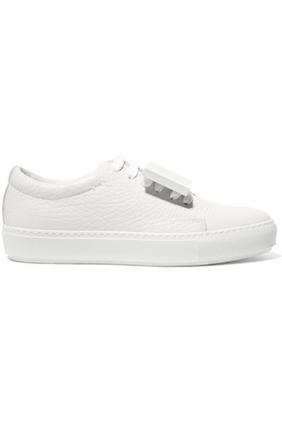 Acne Studios - Adriana Plaque-detailed Textured-leather Sneakers - White
