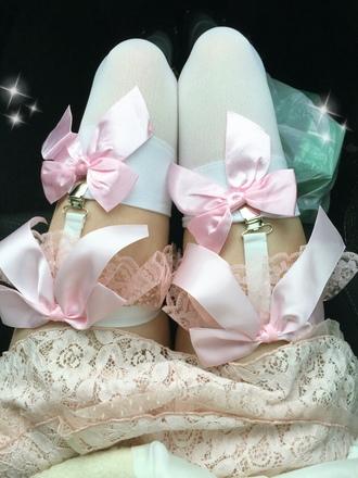 underwear garter belt lace pink ribbon thigh highs lingerie