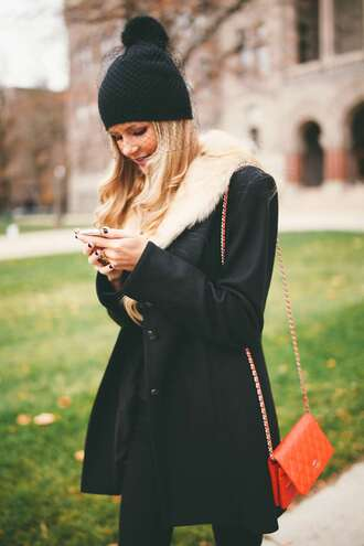 coat hat black hat orange bag