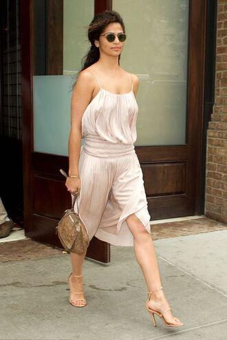 dress midi dress summer summer dress summer outfits camila alves sandal heels sunglasses purse romantic summer dress romantic dress