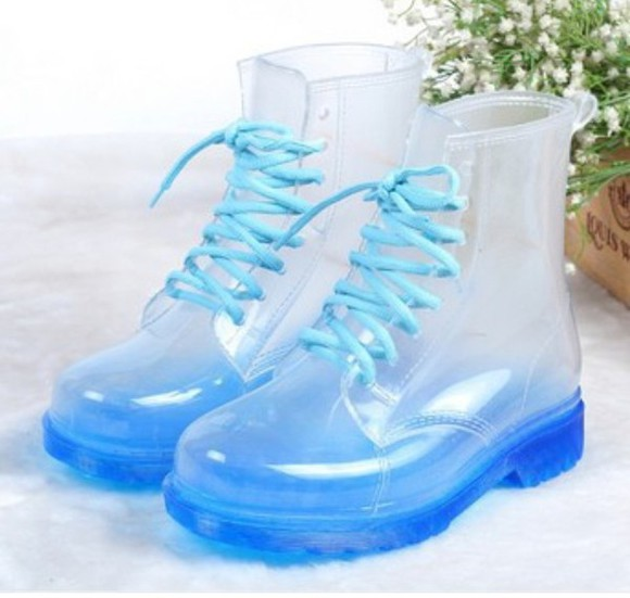 shoes boots clear boots cute blue