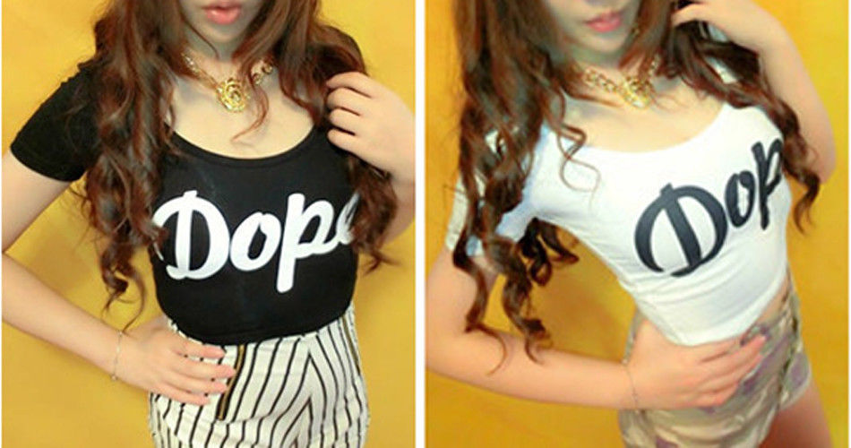 Dope Crop Top Fitted T Shirt Black or White   eBay