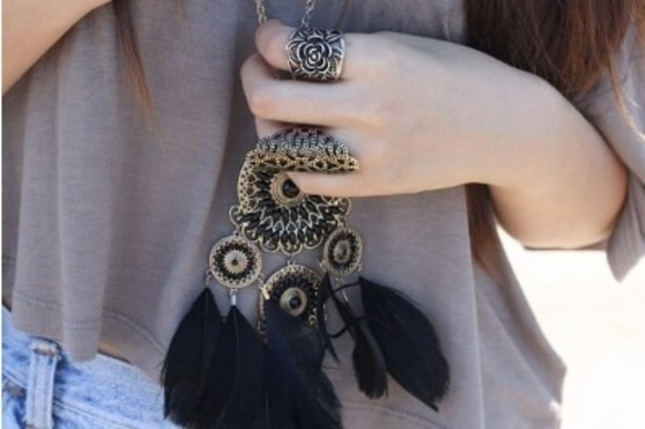 feathers jewels necklace boho style rings