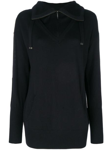 Sottomettimi - zipped collar jumper - women - Merino - S, Black, Merino