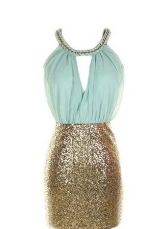 dress halter dress teal dress gold sparkle blue and gold