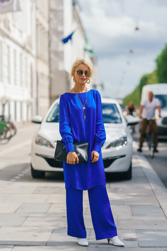 pants long top copenhagen fashion week streetstyle blue pants wide-leg pants top blue top matching set bag clutch shoes sunglasses