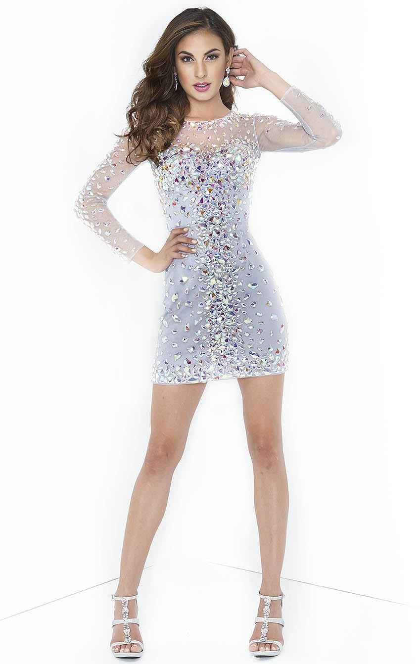 2014 Cheap Silver See Through Crystal Long Sleeve Short Homecoming Dresses Gorgeous Cocktail Dress Custom Made-in Cocktail Dresses from Apparel & Accessories on Aliexpress.com