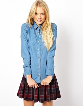 ASOS | ASOS Denim Shirt in Mid Stonewash Blue at ASOS
