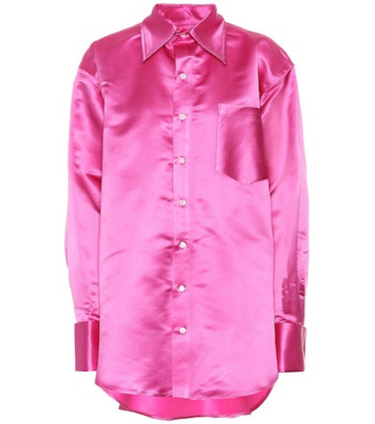 Matthew Adams Dolan Oversized silk shirt in pink