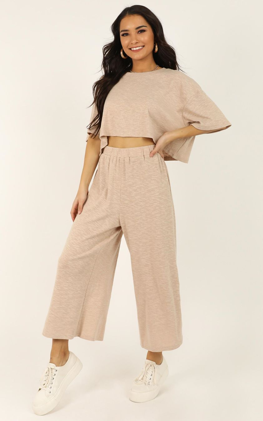 Showpo I Got It Bad Pants In cream marle - 4 (XXS) Separates