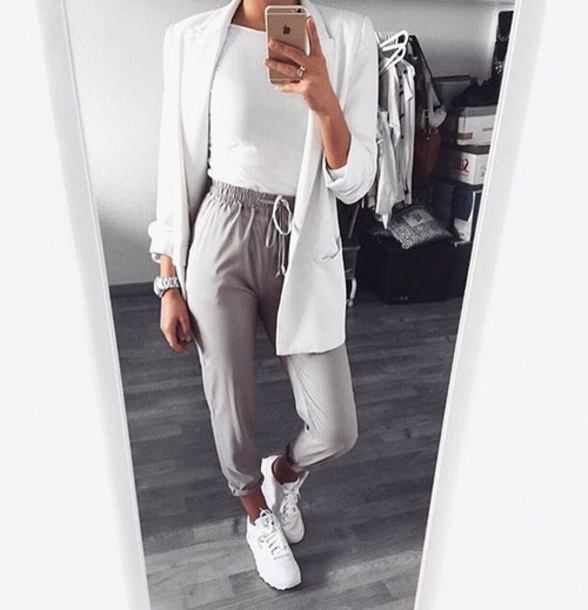 Pants Grey Beige Fashion Style Loose Fit Pants Loose
