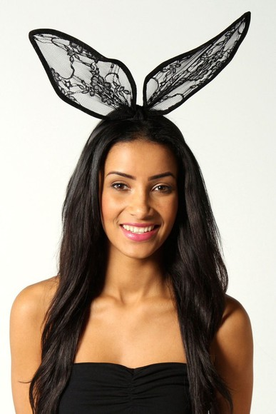 hat headband bunny ears black lace aliexpress