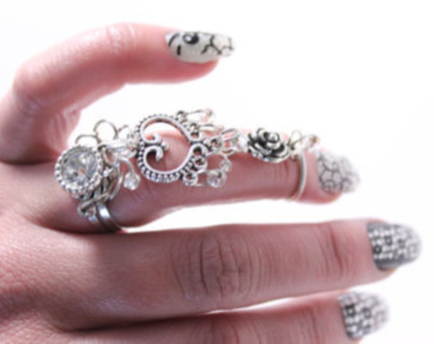 jewels swag ring finger ring rose silver