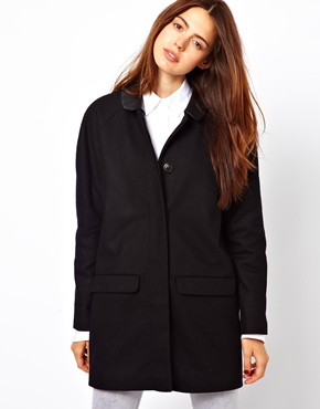 Esprit | Esprit Collar Wool Boyfriend Coat at ASOS