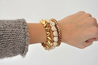 jewels bracelets skull jewelry stacked bracelets spikes