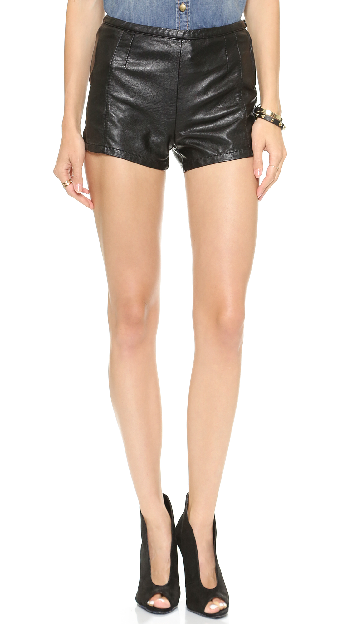 Blank Denim Faux Leather Shorts | SHOPBOP