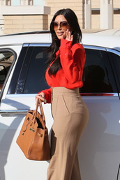 pants,linen pants,shirt,red shirt,sheer,sheer shirt,red sheer shirt,slacks,blouse,red blouse,kim kardashian