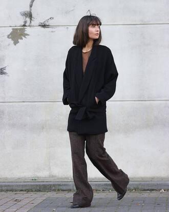 coat black coat brown pants tumblr oversized pants fall outfits