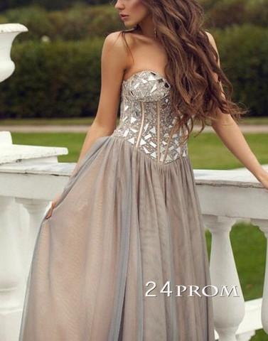Gray Sweetheart neckline Long Prom Dresses, Evening Dresses - 24prom